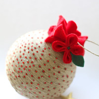 Christmas Tree Ornament, Window Decoration,  Christmas Bauble, Red Flowers, Linen Ornament