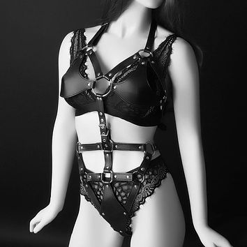 Leather Adjustable One Piece Halter Harness