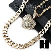 """MENS ICED OUT BLING HEART PENDANT DIAMOND CUT 30"""" CUBAN CHAIN NECKLACE SET G31"""