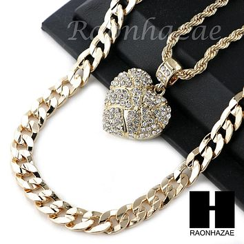 "MENS ICED OUT BLING HEART PENDANT DIAMOND CUT 30"" CUBAN CHAIN NECKLACE SET G31"