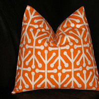 """Pillow TANGERINE 18 inch ONE Decorator Pillow Cover orange and white Geometric Modern 18"""""""