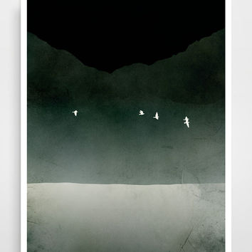 Black and White Art, Minimalist Poster, Modern Art, Abstract Landscape