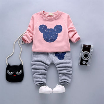 Infant Minnie Cotton Tracksuits Baby Boys Girls Mickey Coat T Shirt Sweatshirt+pants 2pcs Clothing Set Newborn Padded Sport Suit