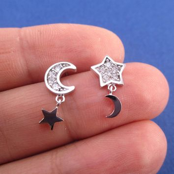 Crescent Moon and Stars Shaped Celestial Space Themed Stud Earrings in Silver