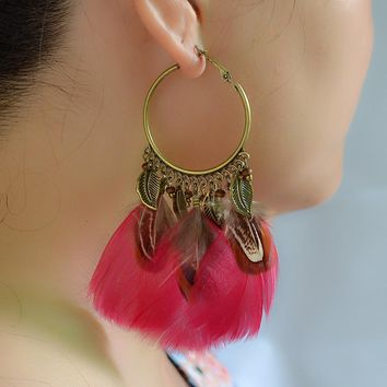 Fashion Bohemian Indian Ethnic Beads Feather Hook Earrings Women Anniversary Party Ears Jewelry Gift