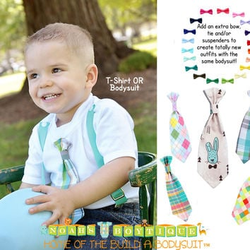 3b990b4fe2e0 Toddler Boy Easter Outfit with Teal Plaid Tie and Teal Suspenders