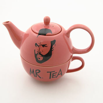 Pink Mr T Tea for one teapot and cup set by LennyMud on Etsy
