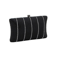 Whiting & Davis Pillow Crystal Stripe Mesh Minaudiere - Black