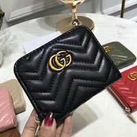 Gucci Popular Women Leather Double G Zipper Purse Wallet Black I-AGG-CZDL