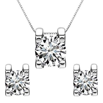925 Sterling Silver 0.7 Carat Solitaire Round CZ Bridal Necklace Stud Earrings Set