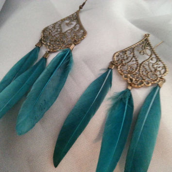 Bronze and teal feather chandelier Earrings
