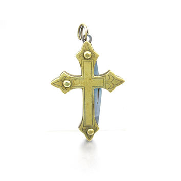 Cross Pocket Knife Necklace Pendant. Gold Brass Religious Symbol Pocket Knife Fob. Hidden Pen Knife.