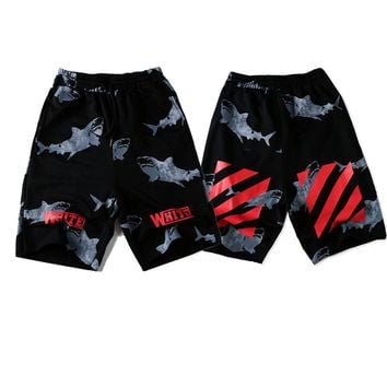 2018 summer new shark panties cotton straight-barrelled street fashion casual pants