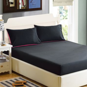 Black Simple Solid Color Fitted Sheet
