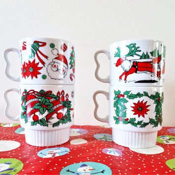 Vintage Stacking Christmas Mugs, Mid Century Mod Christmas Coffee Cups, Kitschy Christmas Mugs, Made in Japan 1950s Christmas Hot Cocoa Mugs