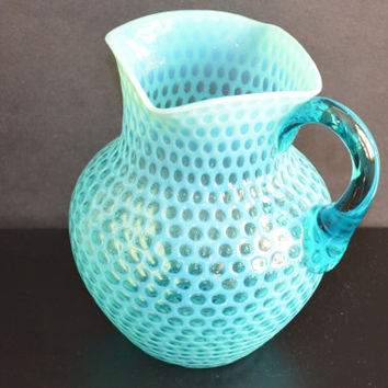 Hobbs Windows Glass / Honeycomb Pitcher / Hobbs Brockunier Glass / Hobbs Blue Opalescent Water Pitcher / Art Glass Water Pitcher
