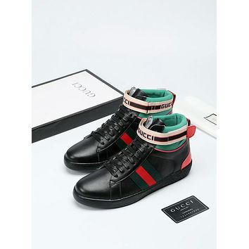 Gucci     Trending Men Women Black Leather Side Zip Lace-up Ankle Boots Shoes High Boots