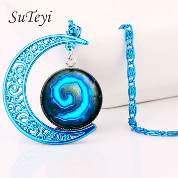 SUTEYI fashion witchcraft blue moon necklace wow world warcraft round glass charm pendant blue chain statement necklace