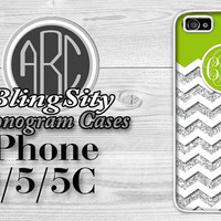 Monogram Lime Green Chevron Iphone 6 Case iPhone 4 4S 5 5S 5C Case Zig Zag Sparkle  Cover Rubber Silicone *Not Actual Glitter