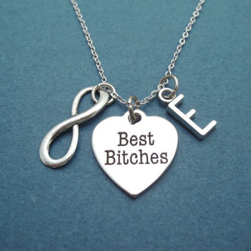 Personalized, Letter, Initial, Infinity, Best bitches, Necklace, Bff, Best friend, Forever, Jewelry, Gift, Christmas, Birthday, Gift, Friend