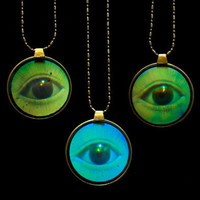 Vintage Holographic Eye Necklace on Gold Plated by theBEAline