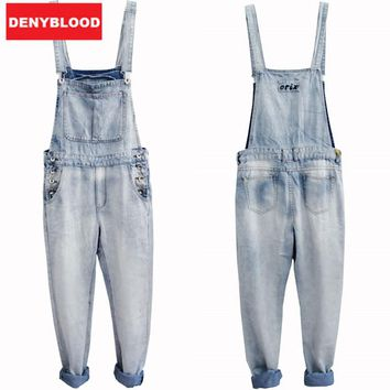 e6500c9e563 2016 Mens Bleach Wash Jumpsuit Denim Overalls Men Baggy Cargo Pa