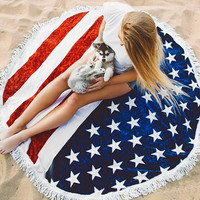Round 4th of July Printed American Flag Beach Towel With Tassels