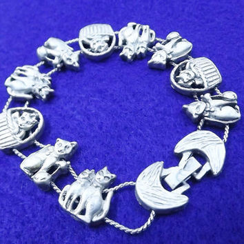 Vintage Kitty Cat Slider SilverTone TOFA Bracelet