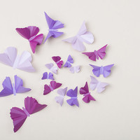 3D Wall Butterflies: Butterfly Wall Art for Nursery, Girl's Room, Wedding & Home Decor - Set of 20 in Purple