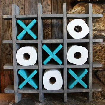 Bathroom Tic Tac Toe - Made to order - Toilet paper holder - Toilet paper Tic Tac Toe - Pallet Wall art - Floating shelf - Decor - Farmhouse
