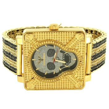 Men's Skull Face Designer Square  Watch with Custom Black Yellow Band