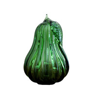 Vintage Murano Blown Glass Green Ribbed Pear with Controlled Bubbles