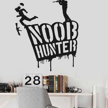 Vinyl Wall Decal Gamer Shooting Video Game Noob Hunter Stickers Unique Gift (ig3667)