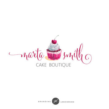 Cupcake logo design, Bakery branding kit, Watercolor red sweet logo, Cake blog, Food Blog, Baking Blog, Graphic Design, Cake boutique,   74