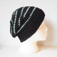 Slouchy Skullcap Beanie Hat in Black with Mint Green Pinstripes, ready to ship.