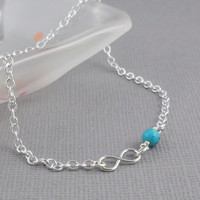 Natural Turquoise Infinity Anklet in Sterling Silver - Summer Jewellery - Semi Precious Jewellery - Minimalist Jewellery - Blue Chain Anklet