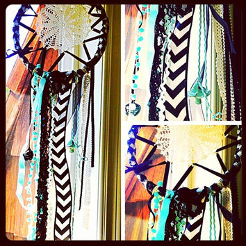 Dreamcatcher with mushroom beads and chevron ribbon in blacks and turquoise