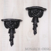Black Small Wall Shelf Wall Sconces Silk Tassel Design - Pair of 2 Shabby Chic Ornate Design Upcycled Modern Traditional Home Decor