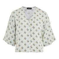 Tie Sleeve Jacquard Blouse - Shirts & Blouses - Clothing