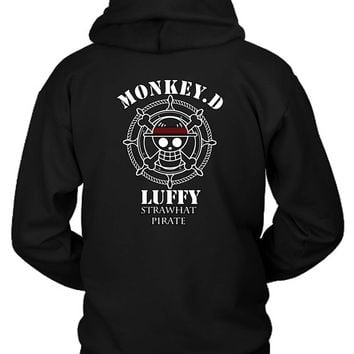 Monkey D Luffy Strawhat Pirate One Piece Anime Hoodie Two Sided