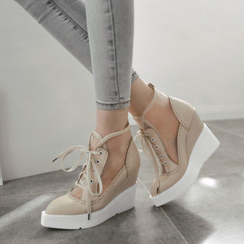 Holly Lace Up Mesh Wedges