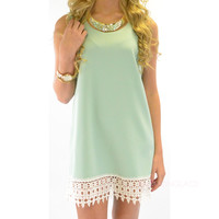 Southern Dream Mint Crochet Shift Dress