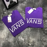 Vans Big Word Leisure Tee Shirt Women Men Top B-MG-FSSH Purple