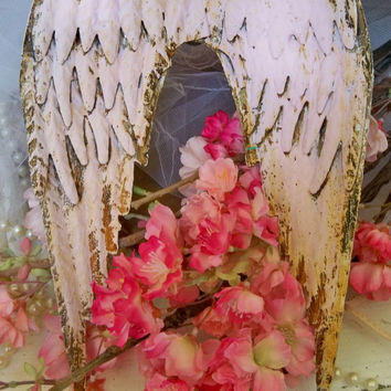 Muted soft pink rusty metal wings shabby cottage wall sculpture farm house home decor Anita Spero