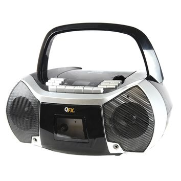 Quantum FX Portable Boombox with Bluetooth, AM-FM Radio, CD-MP3 Player, Cassette Recorder and Headphone Jack
