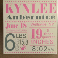 Personalized Baby Stats Signs