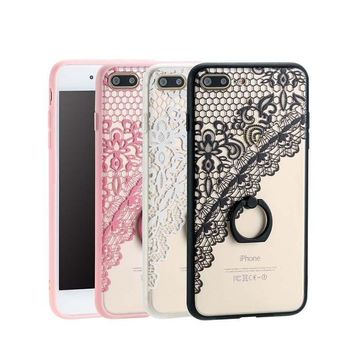 Painted Hard Acrylic PC Phone Cases For iphone 7 6 6s Plus Coque Fashion Ring Holder Stand Funda Back Cover Shell