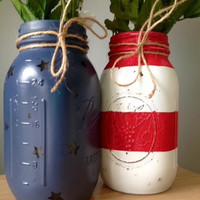 American Flag Mason Jars Patriotic Distressed by KatiesCoveShop