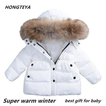Baby winter clothes under ultra light baby girl warm jacket over 90% of hot winter coat with cap kids zipper clothes