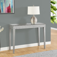 """Console Table - 42""""L / Brushed Silver / Mirror"""